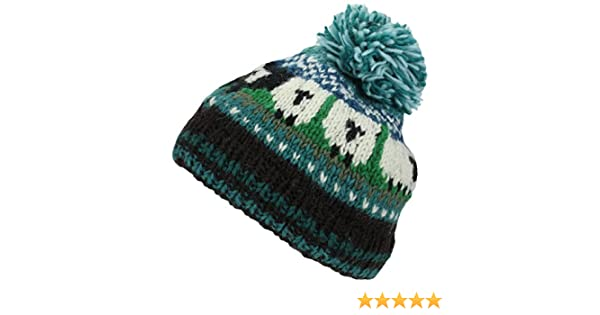 Teal Wool Knit Bobble Beanie Hat Sheep Pattern   Black Sheep  Amazon.co.uk   Clothing 22b187712736