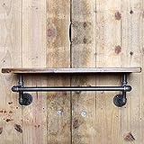 Panet Garderobe, Altes industrielles schmiedeeisernes Rohrregal der Weinlese, an der Wand befestigtes Massivholzregal, Mehrzweckregal (Größe : 100 * 20cm)
