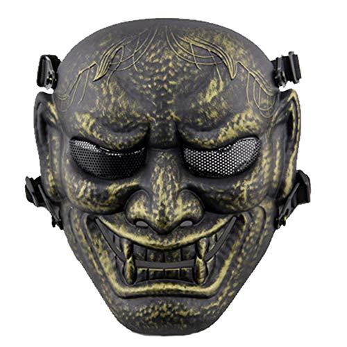 Of Steel Mann Cosplay Kostüm - WLXW Outdoor Japanische Samurai Metal Mesh Vollgesichtsschutz Air Gun Maske - Steel Mesh Brille - Halloween Cosplay Buddhistische Prajna Maske,Bronze