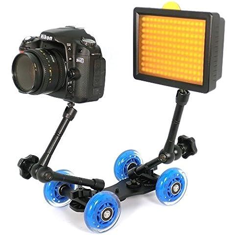 Topfroto Dolly Rolling Slider Car/Desktop Camera Track Car +7 inch