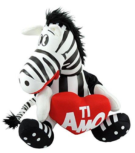 Peluche zebra con cuore ti amo 30cm pupazzo san valentino per lui e per lei tifosi juventus