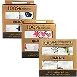 2x quschel® Pucktuch/Einschlagtuch/Spucktuch/Swaddle & Burp Blanket/Mulltuch/Mullwindel/Badetuch blau 120x120cm aus 100% Bio-Baumwolle/Bio-Musselin, GOTS zertifiziert