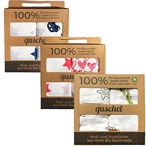 2x quschel® Pucktuch / Einschlagtuch / Spucktuch / Swaddle & Burp Blanket / Mulltuch / Mullwindel / Badetuch blau 120x120cm aus 100% Bio-Baumwolle / Bio-Musselin, GOTS zertifiziert (Bio-burp Tücher)