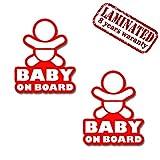 Skino 2 Stück Vinyl Aufkleber Autoaufkleber Stickers Baby on Board Kind Mit Sonnenbrille Sicherheit Auto Moto Motorrad Fahrrad Fenster Tür Tuning B 163