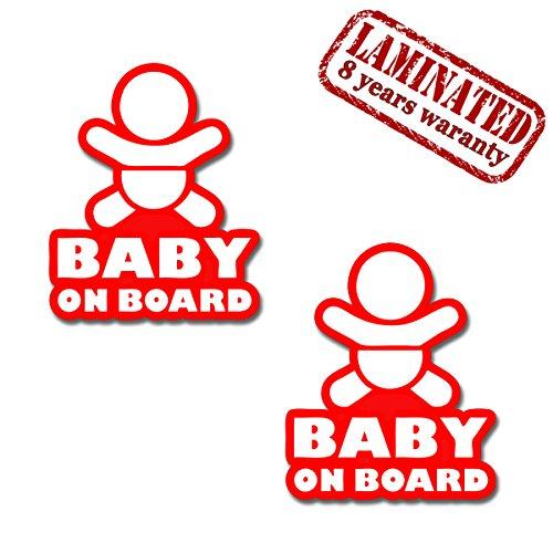 2 Stück Vinyl Aufkleber Autoaufkleber Stickers Baby On Board Kind Sicherheit Auto Motorrad B 163 (Zimmer-board)