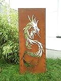 Zen Man Garten Sichtschutz aus Metall Rost Gartenzaun Gartendeko edelrost Sichtschutzwand 031642-2 125*50*2CM
