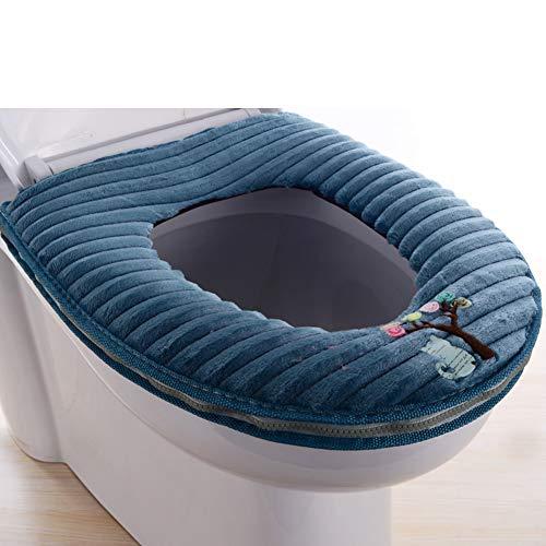 BATSDCB Plüsch Warme WC Cover sitzkissen Set, Universelle Wasserdicht Waschbar Bad WC-sitzkissen, Reißverschluss-Marine -