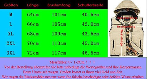 BININBOX® Herren Weste mit Kapuze Khaki