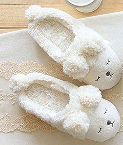 Minetom Femmes Filles Automne Et Hiver Doux Chaussons Cartoon Sheep Intérieur Skidproof Pantoufle Blanc