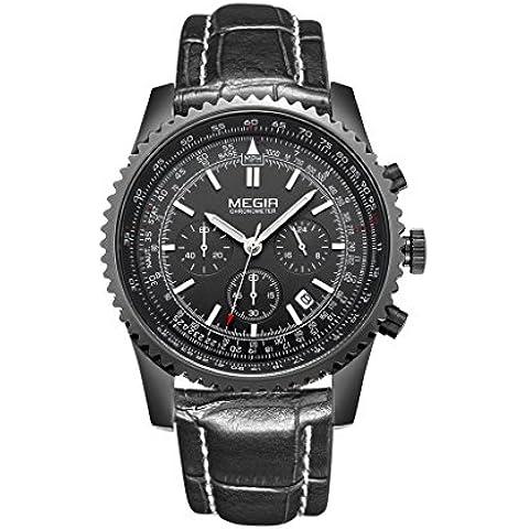 Megir orologi uomo Luxury Brand cinturino in vera pelle impermeabile Relogio Masculino movimento al (Easy Reader Genuine Cinturino In Pelle)