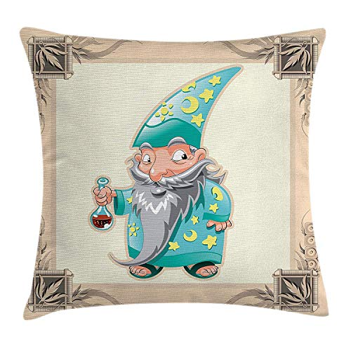 RAINNY Medieval Throw Pillow Cushion Cover, Funny Medieval Magician Illustration with Pyjamas Gothic Old Story Print, Decorative Square Accent Pillow Case, 18 X 18 inches, Cream Blue Yellow (Story-pyjama A Christmas)