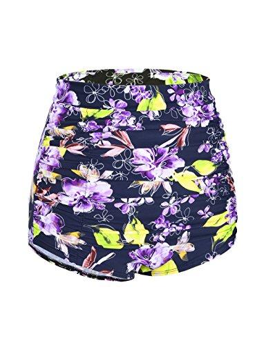 Hilor Damen Vintage High Taille Bikini Bottom Gefaltet Tankini Slips Bikinihose Badehose Lila Floral