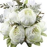 Amkun Kunstblumenstrauß, Pfingstrosen, künstlich, Seide, für Hochzeit/Dekoration, 1Stück weiß
