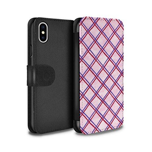 Stuff4 Coque/Etui/Housse Cuir PU Case/Cover pour Apple iPhone X/10 / Bleu/Violet Design / Motif Entrecroisé Collection Violet/Rouge