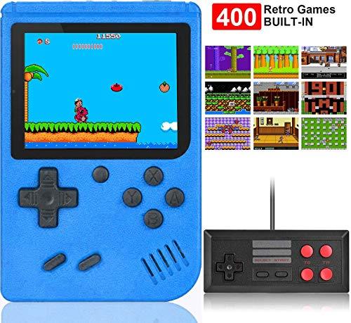 Kiztoys Handheld Spielkonsole,400 Klassische Spielen, 2.8-Zoll-LCD Bildschirm Retro-spielkonsole Unterstützt das Anschließen TV-Anschluss und Zwei Spieler für Kinder und Erwachsene Geschenk Konsolen