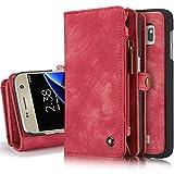 iPhone/Samsung Leder Handytasche Case Hülle Geldbörse mit Kartenfach abnehmbar Magnet Handy Schutzhülle für Samsung Galaxy S7 in Rot