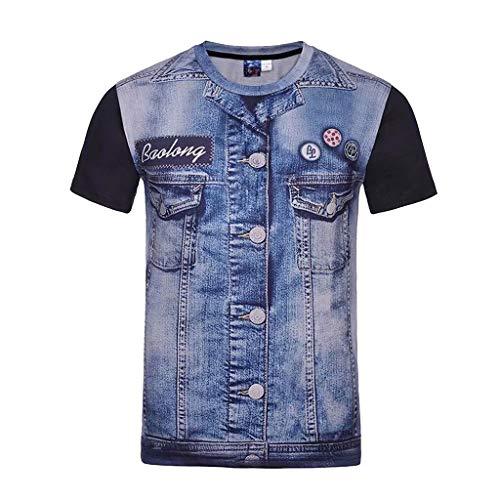 UINGKID Herren T-Shirt Slim-Fit Easy Business Kurzarm UnterhemdMode Herren Casual Denim Kurzarm T-Shirt Top Bluse -