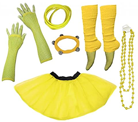 A-Express® Neon Tutu Skirt Legwarmer Gummies Beads Hen Fancy Dress Party Costumes Set