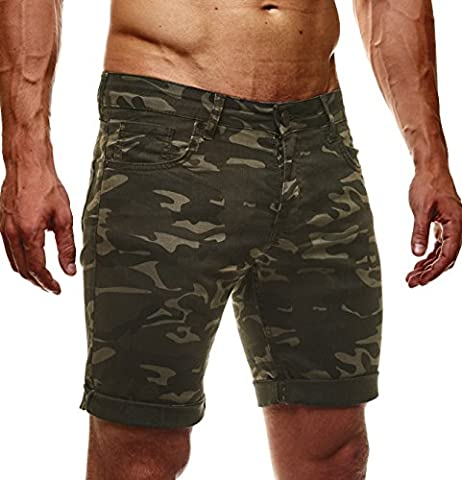 LEIF NELSON Herren Jeans Shorts LN1397; W34; Camouflage