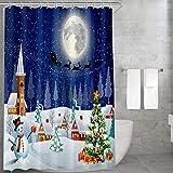 Carttiya Tenda da Doccia Natale, Tenda da Doccia in Tessuto di Natale con Anelli di Tenuta e Ganci per Tende Resistenti alla ruggine, 180x180 cm