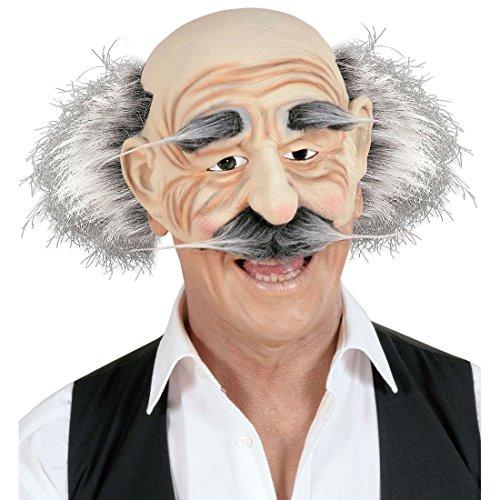 Amakando Alter Mann Halbmaske Faschingsmaske mit Perücke Gummimaske Professor Einstein Latexmaske Greis Kostüm Accessoire Opa Maske