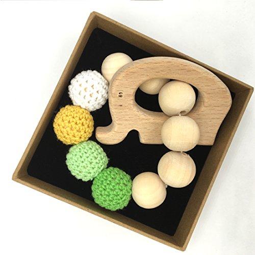Coskiss Crochet Bead Anello Elefante per la dentizione Set non trattato Maple Teether con il giocattolo di legno organico braccialetto di legno dei bambini mamma bambino di legno Teether Bangle (di colore 2)