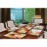 Avira Home Multichecks 7 Pieces Cotton and Polyester Table Mats(13x19-inches, Multicolour)