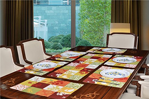 Avira Home Polycotton Multichecks Table Mats and Table Runner Set, (6 Mats and 1 Runner) (Multicolor)