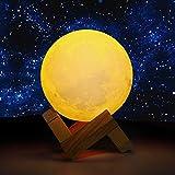 obor Lampe Mond 3D, 8cm verstellbar Helligkeit und Farbe Décor zu Hause, wiederaufladbar Zimmer Night Light, Knopf Schalter Version Moon Leuchttisch Büro Mond Schlaf Nacht Licht Lampe in der Schlafzimmer