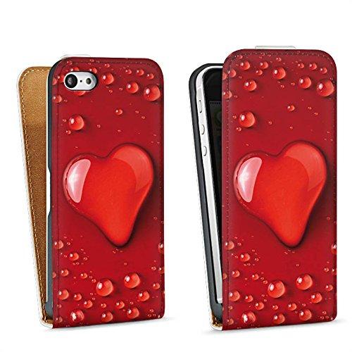 Apple iPhone 4 Housse Étui Silicone Coque Protection Amour eau goutte C½ur Motif Sac Downflip blanc