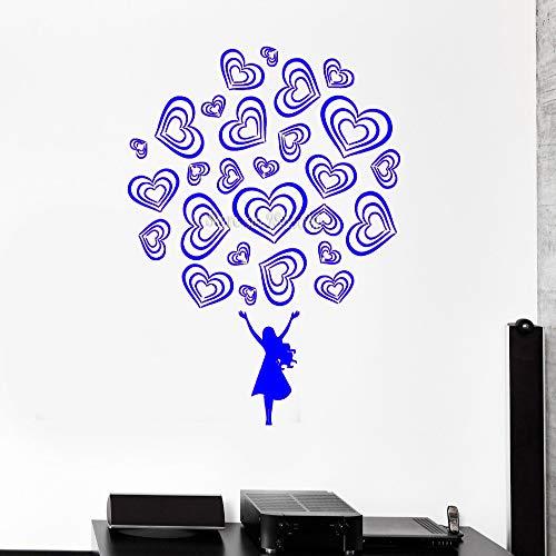 zhuziji wandtattoo Teen Girl Love Romance schöne Aufkleber Schlafzimmer dekor Vinyl DIY abnehmbare Aufkleber Moderne Kunst mura 88a-2 42x56 cm