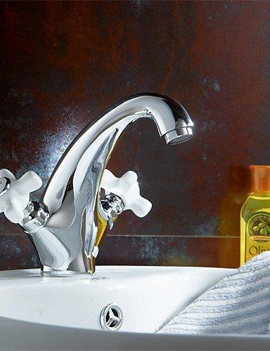 hjkdgh Wasserhahn Deck montiert Dual ein Loch Griff Waschbecken Wasserhahn massivem Messing Chrome Finish Waschbecken Mixer Wasserhahn K1062 (Messing Poliert Dual-duschkopf)