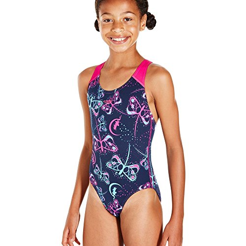 Speedo Girls' Flashfly Allover Splashback Swimsuit