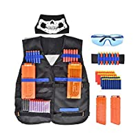 56 Pcs Tactical Vest Kit for Nerf 50Pcs Darts Bullets, 2Pcs 12-Dart Quick Reload Clips, 1Pcs 8-Dart Wrist Band, Seamless Face Mask, Goggle and Bullets Storage Bag