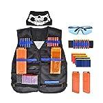 56 Pcs Tactical Vest Kit for Nerf 50Pcs Darts Bullets, 2Pcs 12-Dart Quick Reload Clips, 1Pcs 8-Dart Wrist Band, Seamless...