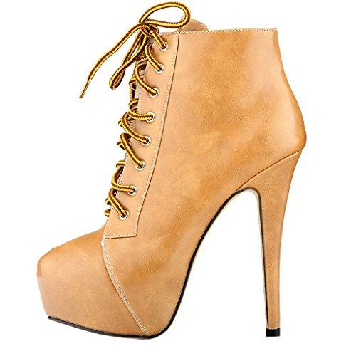 EKS Damen Schuhband High Heels Stilett Plattform Stiefele Apricot-Matte