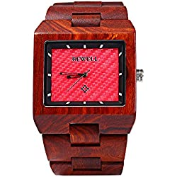 Bewell ZS - W016A Men Wooden Watch Quartz Movement Wristwatch Rectangle Dial