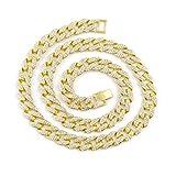 Molyveva Herren Halskette, Edelstahl, vergoldet, Cubic Zirkonia, Miami-Cuban, Hip-Hop-Halskette 18–24cm, Metall, 20inch, Einheitsgröße