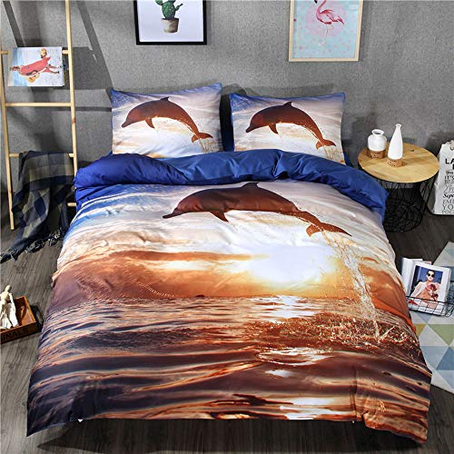 DXSX Bettwäsche Set 3D Tier Delphin Premium Bettbezug und Kissenbezug Set Easy Care Kinderbettwäsche Jungs Mann Bettbezug Ganzjahr (Delphin, 200x220cm)