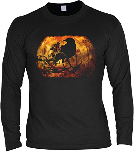 Gruseliges Halloween Fun Langarmshirt Herren - Halloween Rabe - T-Shirt Unisex, Farbe: (Kostüme Minute Last Zombie Halloween)