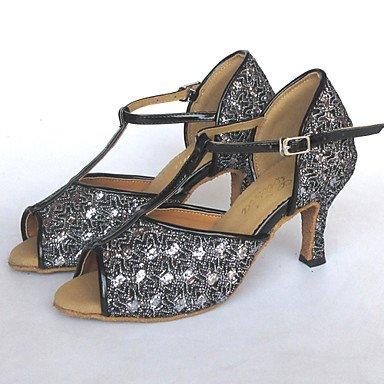 XIAMUO Anpassbare Damen Tanzschuhe Latein/Salsa/Leistung funkelnden Glitter angepasste Ferse Silber Schwarz und Silber T6yM4