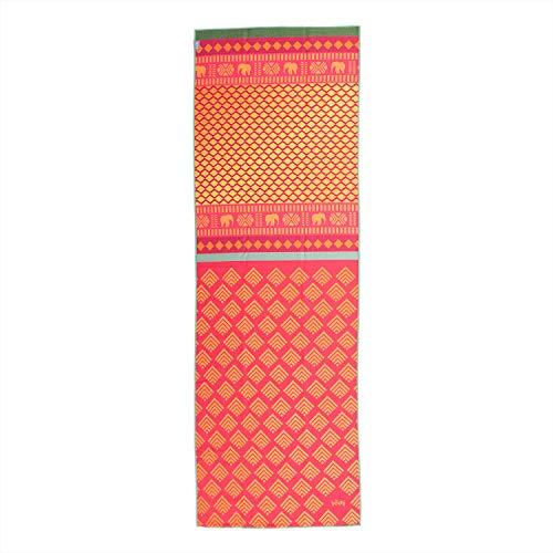 Bodhi Grip² Yoga Towel, rot-gelb, Art Collection Safari Sari, rutschfest, Yogatuch mit Noppen, Mikrofaser, ideal für Hot Yoga