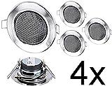 Confezione da–INCASSO MINI altoparlanti diffusori a soffitto interamente in metallo–Lampadina alogena Design–cromato
