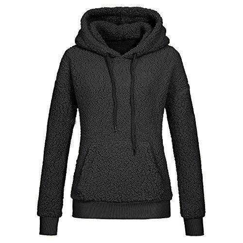 MIRRAY Damen Winter Langarm Solide Patchwork O-Ausschnitt Sweatshirt Lässige Kapuzen-Bluse
