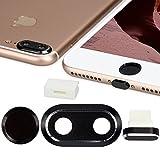 kwmobile 4en1: Protección para cámara de Smartphone y Set Antipolvo - Tapones Protectores para Apple iPhone 7 Plus / 8 Plus - en Negro