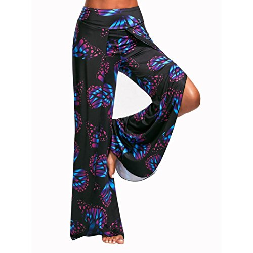 Bekleidung Longra Damen Casual Hosen Butterfly Print High Split Flowy Wide Leg Bein Jogginghose Yoga Hosen (S/Waist:74cm/29.1, Black) (Set Butterfly Short)