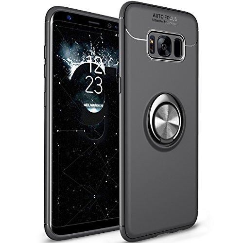 WATACHE Galaxy S8 Hülle, Ring Kickstand 360 Grad rotierenden Ring Drop Schutz Stoßdämpfung weichen TPU Cover [Arbeit mit magnetischen Auto Halterung] für Galaxy S8(Schwarz) (Dual-ring-mount)