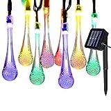 Yasolote 4.8m Cadena de Luces Solares Exterior 20 LED Guirnalda Solar con Diseño de Gota de Agua para Jardín, Patio, Terraza, Balcón, Casas, Hogar, Boda, Fiesta, Árbol de Navidad (Colores)