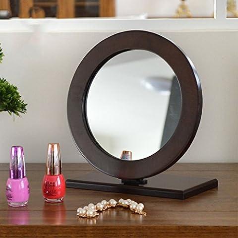 Legno Specchio da toilette, desktop pieghevole Specchio da toilette, Tavolo Specchio principessa Piccolo Specchio ( colore : Marrone ) - Principessa Pieghevole Tavolo