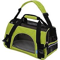 Ltuotu Portador del Perro Capazos Bolsa de Transporte para Mascotas Perros Gatos Animal Transportín Plegable, Aprobado por La Aerolínea de Viajes Portador del Bolso Lateral Suave (L(48*25*33cm), limón verde)